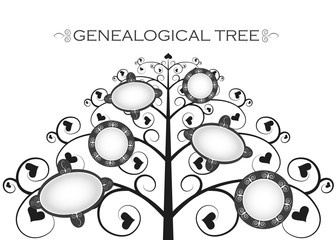genealogical tree on a white background, silhouette