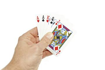 Poker player holding three one pair