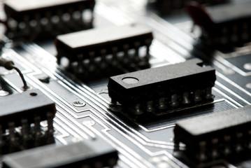 Abstract printed circuit board close-up