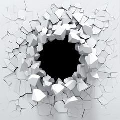 Fototapeta Destruction of a white wall obraz
