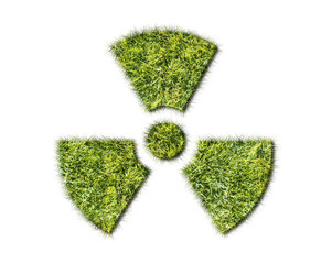 Radiation sign from grass isolated on white background