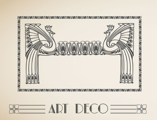 Vector art deco frame with peacock