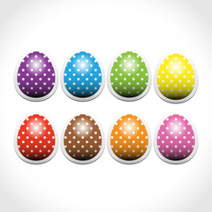 Set of paper Easter egg stickers