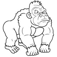 illustration of Gorilla Cartoon - Coloring book