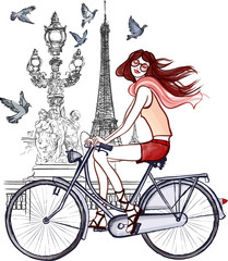 Wall Murals Illustration Paris woman on Alexander III bridge in Paris