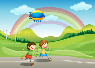 Door stickers Rainbow Kids running with an airship above