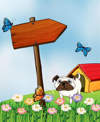 Poster Dogs A bulldog and the three colorful butterflies
