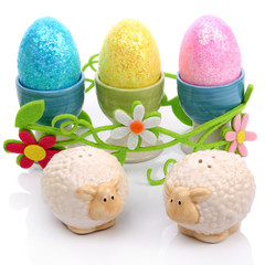 Easter eggs and sheep
