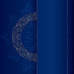 Gold vintage floral patterns on blue background
