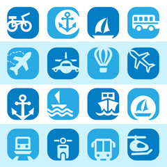color transportation icons set