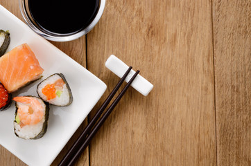 Mixed sushi on a white plate
