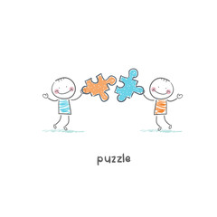 Man and  puzzle. Illustration.