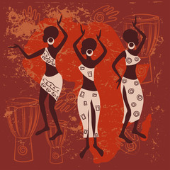 African design. Beautiful ethnic women traditionally dancing.