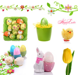 Decorations isolated on white for Easter card project