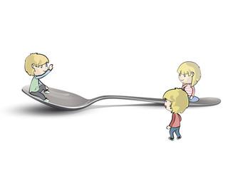 Kids around spoon. Vector design.