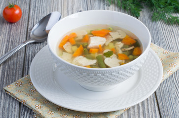 Chicken soup with mushrooms
