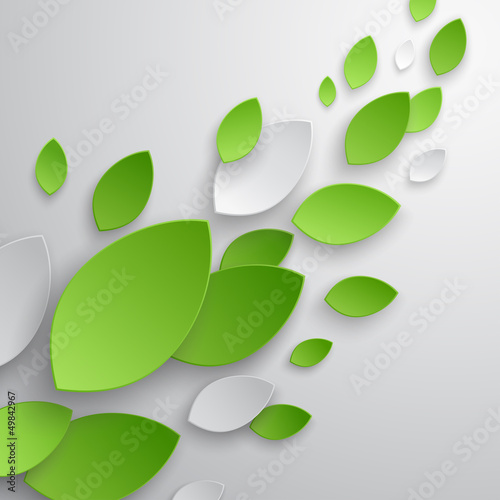 Wall mural Green leaves abstract background. Vector illustration.