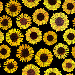 Seamless sunflowers vector background.