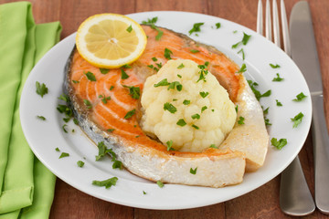 fried salmon with lemon and cauliflower