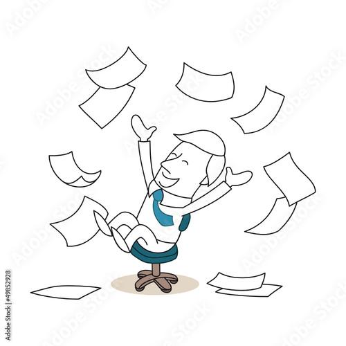 Bürostuhl comic  Geschäftsmann, Bürostuhl, Freude, Papier, Jubel