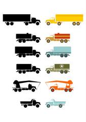 Zestaw starych ciężarówek na białym tle.