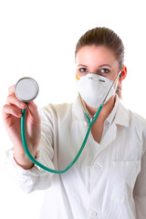 Female doctor in mask with pointed stethoscope