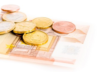 money euro coins and 50-euro banknote