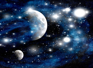 Abstract background with two moons in galaxy