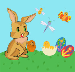 Easter bunny and chicken. Vector illustration