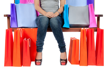 Yong Asian Woman With colorful Shopping Bags
