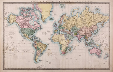 Poster World Map Old Antique World Map on Mercators Projection