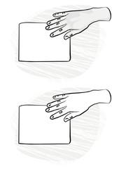 Fototapeta pusta kartka papieru prawa dłoń na płaszczyźnie monochrom