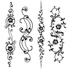 Vector set swirling elements for design ornaments floral