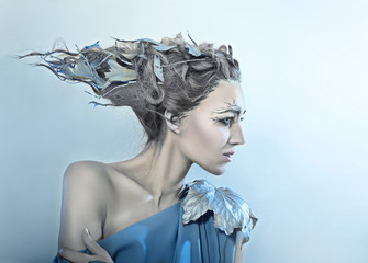 beatiful woman with fantasy hair