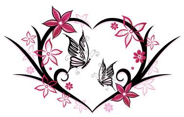 Sommer, Herz, Schmetterlinge, Blumen, pink