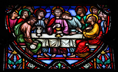Photo sur Plexiglas Vitrail Last Supper - Maundy Thrusday