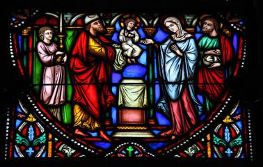 Photo sur Plexiglas Vitrail Holy Family - Stained Glass - Jesus, Mary and Joseph