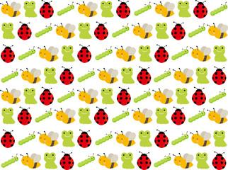 春の可愛い生き物パターン カエル、てんとう虫、蜂、青虫