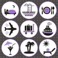 Travelling and accommodation icons