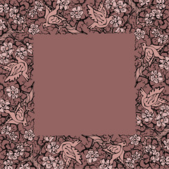 Hand drawing nature floral frame