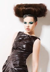 Futuristic Woman. Fantasy. Fancy Professional Coiffure