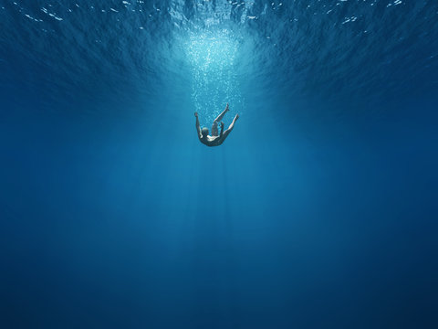 Man falls into the depths