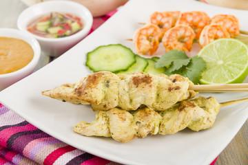 Sate Gai & Sate Goong - Thai chicken and prawn satays