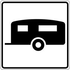 Papier Peint - Schild weiß - Wohnwagen