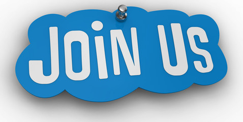 Join us website Pin Sign Word