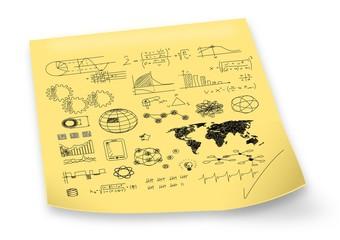 Notizzettel mit Skizzen - Lösungen - Zeichnungen