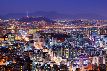 Aluminium Prints Seoul Seoul Skyline