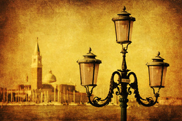 Blick von Venedig auf San Giorgio Maggiore mit alter Textur