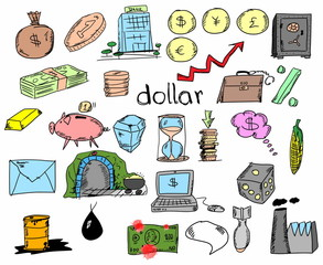 Hand drawn finance, banking, business, doodle