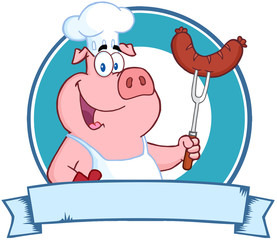 Happy Pig Chef Holding A Sausage On Fork Over A Blank Banner